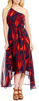 Vince Camuto One Shoulder Printed Maxi Dress