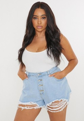 Missguided Size Light Blue Button Fly Distressed Denim Shorts