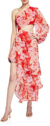 Alexis Sabetta One-Shoulder Cutout Cocktail Dress