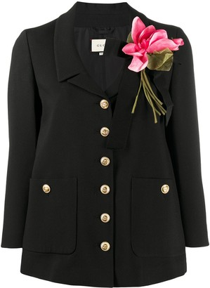 Gucci floral detail fitted jacket