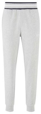 HUGO BOSS Loungewear Pants In Needle Rib Cotton Jacquard - Grey