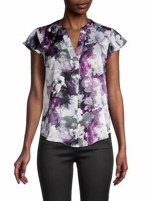 Calvin Klein Floral-Print Cap Sleeves Blouse