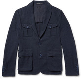 Giorgio Armani Blue Slim-Fit Cotton-Blend Bouclé Blazer