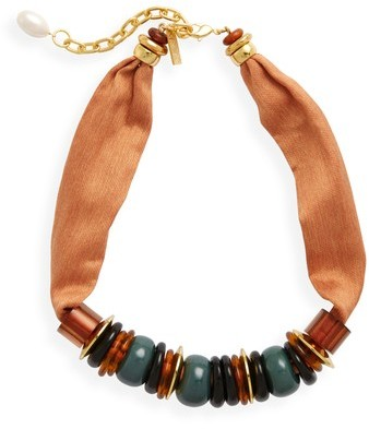 Lizzie Fortunato Women's Out Of Africa Beaded Ribbon Necklace