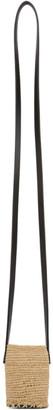 Jil Sander Off-White and Black Mini Raffia Bucket Shoulder Bag