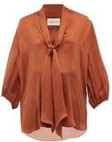 Alexandre Vauthier Tie-neck Silk-satin Chiffon Blouse - Womens - Brown