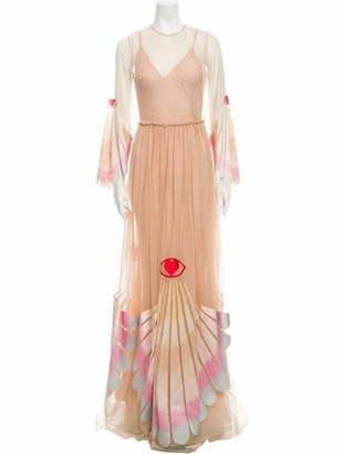 Sandra Mansour Semi-Sheer Evening Dress Tan