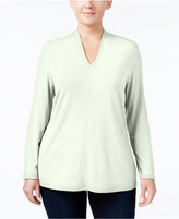 Charter Club Plus Size Split-Neck Top, Only at Macy's