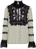 Anna Sui Lace And Tulle-Paneled Printed Crepe De Chine Blouse