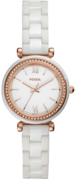 Fossil Women's Carlie White Ceramic Bracelet Watch 28mm