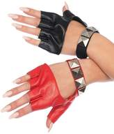Leg Avenue Harley Two-Tone Studded Fingerless Gloves Womens Biker Black Red