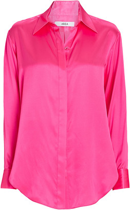 Area Silk Satin Button-Down Shirt