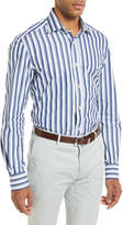 Kiton Multi-Stripe Long-Sleeve Shirt, Blue