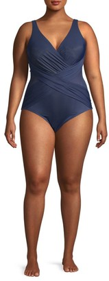Miraclesuit Swim, Plus Size V-Neck Illusionists Crossover One-Piece Swimsuit