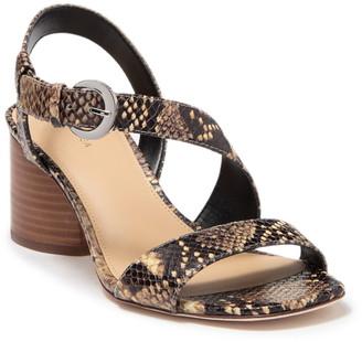 Via Spiga Lena Snakeskin Printed Block Heel Sandal