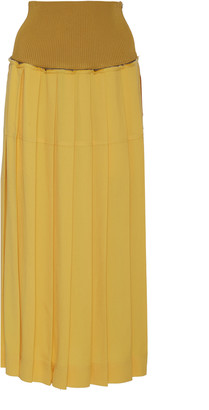Peter Do Two-Tone Pleated Crepe Maxi Skirt