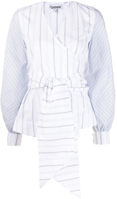 Ganni long-sleeved pinstriped wrap blouse