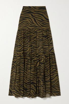 Veronica Beard Serence Tiered Zebra-print Silk Crepe De Chine Maxi Skirt - Army green