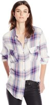 7 For All Mankind Seven7 Women's Plaid Button Down Shirt with Two Pockets