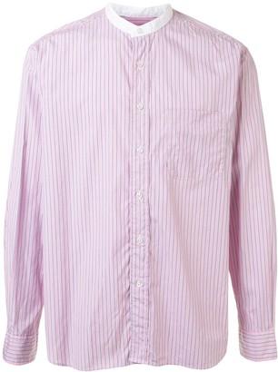 Sophnet. Striped-Print Mandarin Collar Shirt