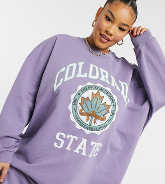 ASOS DESIGN Curve mini sweatshirt dress in dusty purple with colorado print