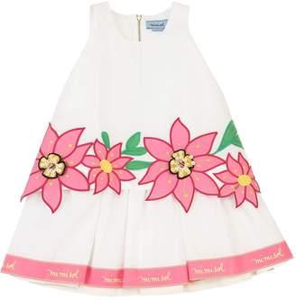 Mimisol Cotton Poplin Dress W/ Flower Patches