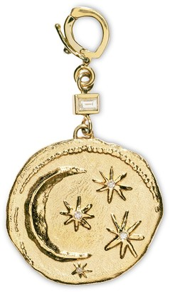 Azlee Baguette Diamond Small Cosmic Coin Yellow Gold Charm