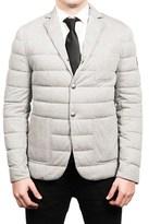 Moncler Men's Gamme Blue Padded Down Blazer Sportscoat Jacket Grey.