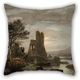 slimmingpiggy oil painting Lluís Rigalt - Night Landscape with Ruined Monastery pillow covers ,best for girls,dance room,kids boys,wife,birthday,boys 18 x 18 inches / 45 by 45 cm(two sides)