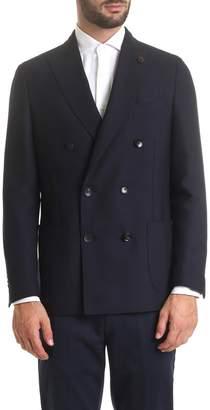 Lardini Blue Double-breasted Jacket