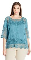Democracy Women's Plus Size Elbow Length Crochet Top with Embroidered Panels and Knit Tank