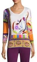 Etro Psych Paisley Scoop Neck Sweater