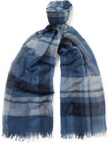 Begg & Co Filigree Fringed Checked Cashmere-Gauze Scarf