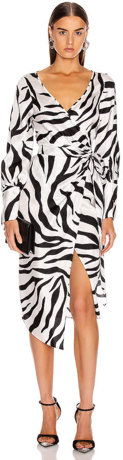 Oscar de la Renta Midi Day Dress in White & Black | FWRD