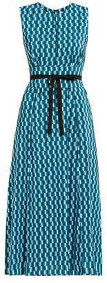 Cefinn - Rosie Geometric-print Tie-waist Dress - Womens - Blue Print