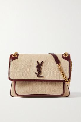Saint Laurent Niki Medium Leather-trimmed Linen-canvas Shoulder Bag - Brown