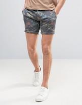 Solid Chino Shorts In Hawaiian Print