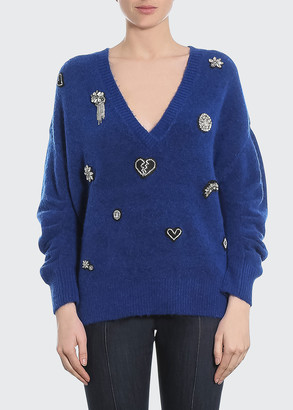 Cinq à Sept Kamila Applique Wool Sweater
