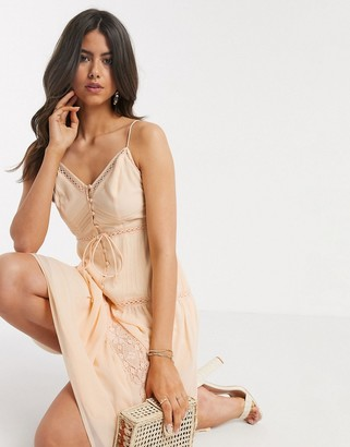 ASOS DESIGN button front tiered midi cami dress with lace insert in peach