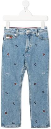 Tommy Hilfiger Junior Embroidered All Over Logo Jeans