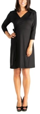 24seven Comfort Apparel Women's Collared V-Neck 3/4 Sleeve Wrap Dress