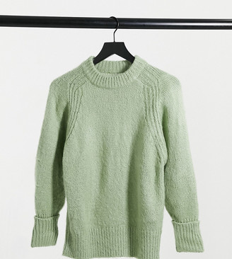 ASOS DESIGN Petite oversized jumper in brushed yarn in sage