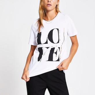 River Island White 'Love' printed oversized T-shirt