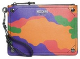 Moschino Women's Multi Camo Print Leather Zip Pouch Wristlet - Red
