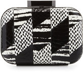 Badgley Mischka Brenda Snake-Embossed Leather Evening Clutch Bag, Black/White