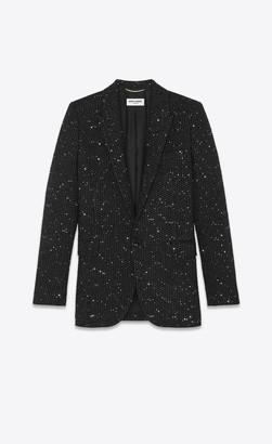 Saint Laurent Blazer Jacket Single-breasted Long Jacket In Lame Tweed With Sequins Black 10