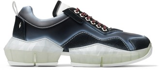 Jimmy Choo DIAMOND/M Black Distressed Suede Trainers with Spray Details