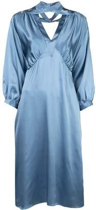 Fete Imperiale crossover V-neck silk dress