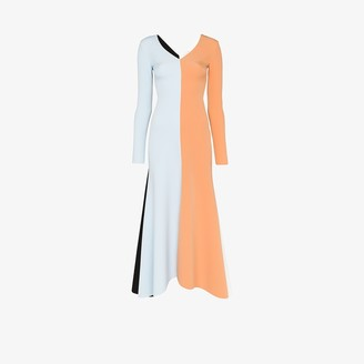 A.W.A.K.E. Mode Contrast panel flared maxi dress