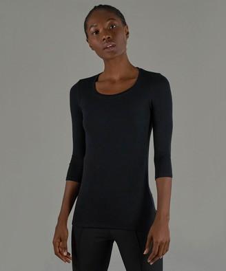 Atm Modal Rib Ballet Neck 3/4 Sleeve Tee - Black